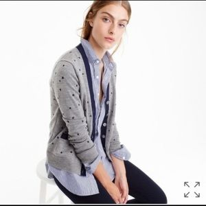 J. Crew Gray W/Blue Embroidered Stars Print  Button Up Cardigan Sweater